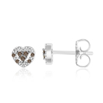 0.15 Cts Brown & White Diamond Earrings in 14K White Gold