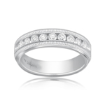 0.45-0.50 Cts  SI1 - SI2 clarity and I-J color VS Diamond Milgrain Band in 18K White Gold