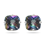 2.00 Cts of 6 mm AA Cushion Checker Board Mystic Topaz Stud Earrings in 14K White Gold
