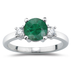 0.10 Cts Diamond & 0.45 Cts Natural Emerald Three Stone Ring in 14K White Gold