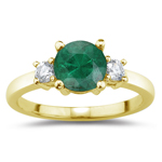 0.10 Cts Diamond & 0.45 Cts Natural Emerald Three Stone Ring in 14K Yellow Gold