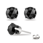 2.00 Cts EGL USA Certified 5.73-5.95mm AA Round Rose Cut Black Diamond Stud Earrings in 14K White Gold