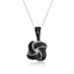 Black Diamond Accent Love Knot Pendant in Silver with Black Rhodium