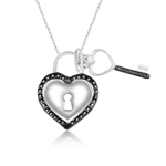 Black Diamond Accent Heart Key Pendant in Silver with Black Rhodium