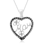 Black Diamond Accent Mom Heart Pendant in Silver with Black Rhodium