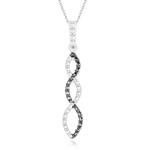 Black Diamond Accent Infinity Pendant in Silver with Black Rhodium