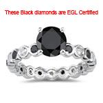 1.50 Cts Black & White Diamond Ring in 14K White Gold