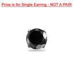 1.50 Cts of 6.30-7.51 mm AA Round Black Diamond Mens Stud Earrings in 14K White Gold