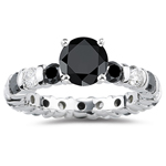4.00 Cts Black & White Diamond Ring in 14K White Gold - Christmas Sale