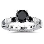 4.00 Cts Black & White Diamond Ring in 14K White Gold