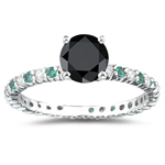 2.33 Cts Green,Black & White Diamond Ring in 14K White Gold