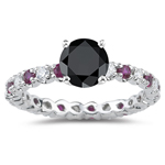 2.00 Cts Black & White Diamond & 0.45 Cts Ruby Ring in 14K White Gold