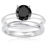 2.00 Cts Black Diamond Engagement and Plain Wedding (3mm comfort fit) Ring Set in Sterling Silver
