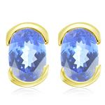 1.50 Cts of 7x5 mm AA Oval Tanzanite Stud Earrings in 14K Yellow Gold