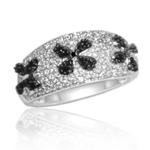 0.02 Cts Black Diamond Ring in Silver with Black Rhodium