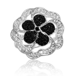 0.02 Cts Black Diamond Ring in Silver with Black Rhodium - Christmas Sale