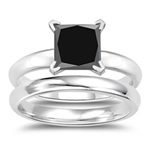 1.50 Cts Princess Cut Black Diamond Engagement and Plain Wedding (3mm comfort fit) Ring Set in Sterling Silver