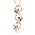 0.60 Cts Diamond & 0.54 Cts Pink Tourmaline Pendant in 14K Yellow Gold - Christmas Sale