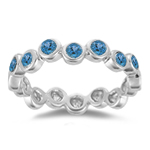 0.77 Cts Swiss Blue Topaz Seven Stone Stack Band in 14K White Gold