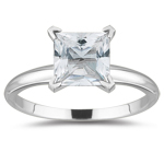 2.10 Cts 7 mm AA Princess White Topaz Solitaire Ring in 14K White Gold