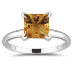 1.65 Cts of 7 mm AA Princess Citrine Solitaire Ring in 14K White Gold