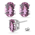 1.27 Cts of 8x6 mm AA Oval Pink Tourmaline Stud Earrings in 14K White Gold