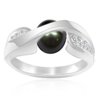 0.14 Cts Diamond & 7 mm Cultured Pearl Ring in 14K White Gold - Christmas Sale