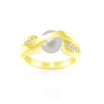 0.14 Cts Diamond & 7 mm White Cultured Pearl Ring in 14K Yellow Gold