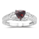 0.04 Cts Diamond & 0.93 Cts Garnet Ring in 14K White Gold