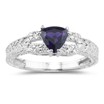 0.04 Cts Diamond & 0.67 Cts Amethyst Ring in 14K White Gold