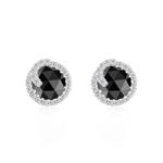 3.33 Cts Black & White Diamond Earrings in 14K White Gold
