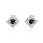 0.55 Cts Black & White Diamond Earrings in 14K White Gold