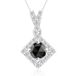 0.55 Cts Black & White Diamond Pendant in 14K White Gold - Christmas Sale