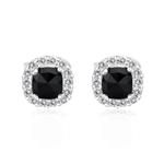 1.05 Cts Black & White Diamond Earrings in 14K White Gold