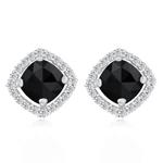 3.60 Cts Black & White Diamond Earrings in 14K White Gold