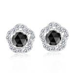 0.80 Cts Black & White Diamond Earrings in 14K White Gold