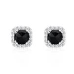 1.35 Cts Black & White Diamond Earrings in 14K White Gold