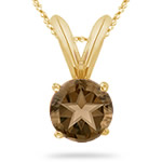 2.95 Cts of 9 mm AA Texas Star Smokey Quartz Solitaire Pendant in 14K Yellow Gold