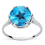 4.75 Cts of 10 mm AA Texas Star Swiss Blue Topaz Solitaire Ring in 10K White Gold