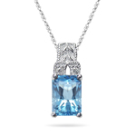 0.04 Cts Diamond & 1.21 Cts Swiss Blue Topaz Pendant in 14K White Gold
