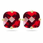 1.78 Cts of 6 mm AA Cushion Checker Board Mystic Red Topaz Stud Earrings in 14K Yellow Gold