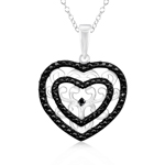 Black Diamond Accent Heart Pendant in Silver with Black & White Rhodium