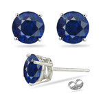 1.10 Cts AA of 5 mm Round Blue Sapphire Stud Earrings in Platinum