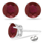1.00 Ct of 5 mm AA Round Ruby Stud Earrings in Platinum