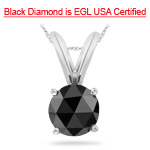 3.00 Cts EGL USA Certified 8.15-9.63 mm AAA Round Rose Cut Black Diamond Solitaire Pendant in 14K White Gold - Christmas Sale