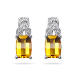 0.04 Cts Diamond & 7x5 mm AA Barrel Citrine Earrings in 14K White Gold - Christmas Sale