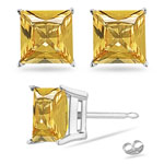 1.40 Cts AA of 5 mm Princess Yellow Sapphire Stud Earrings in Platinum