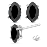 Marquise Black Diamond Stud Earrings in 14K White Gold
