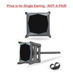 1/4 Cts of 2.5-3.0 mm AAA Princess Black Diamond Men's Stud Earring in 14K Blackened White Gold