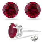 2.50 Cts of 6.5 mm AA Round Synthetic Ruby Stud Earrings in 14K White Gold - Christmas Sale